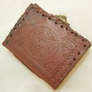 Handmade Leather Pocket Journal Mini Diary Pentagram Embossed Blank Book of Shadows Wicca