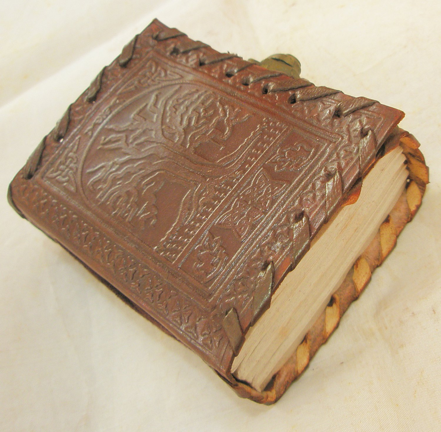 Handmade Leather Pocket Journal Celtic Tree of Life Embossed Mini Diary Blank Book of Shadows Wicca