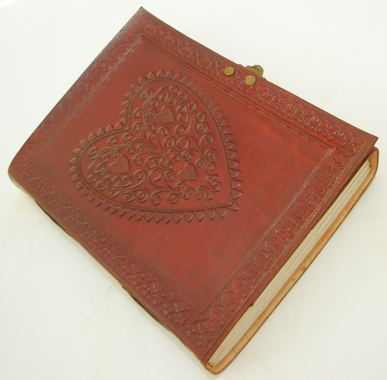Celtic HEART Embossed Leather Journal Large Unlined Vintage Diary Sketchbook Art