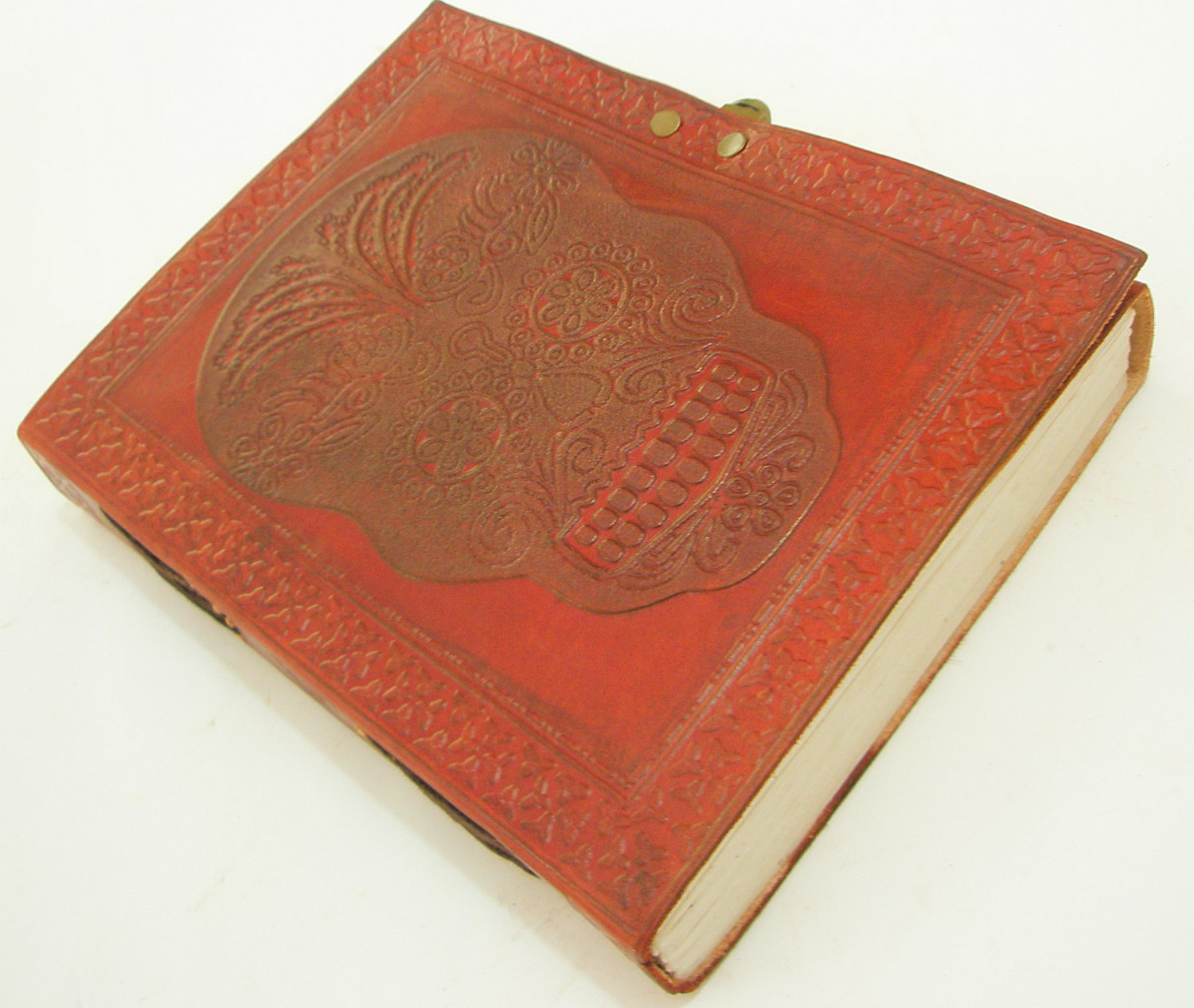 LARGE Handmade Leather Bound Journal DAY OF THE DEAD SKULL Embossed Blank Diary
