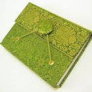 Handmade Eco Recycled Paper Unlined Journal Blank Diary Writing Notebook Sari Fabric Cover Green