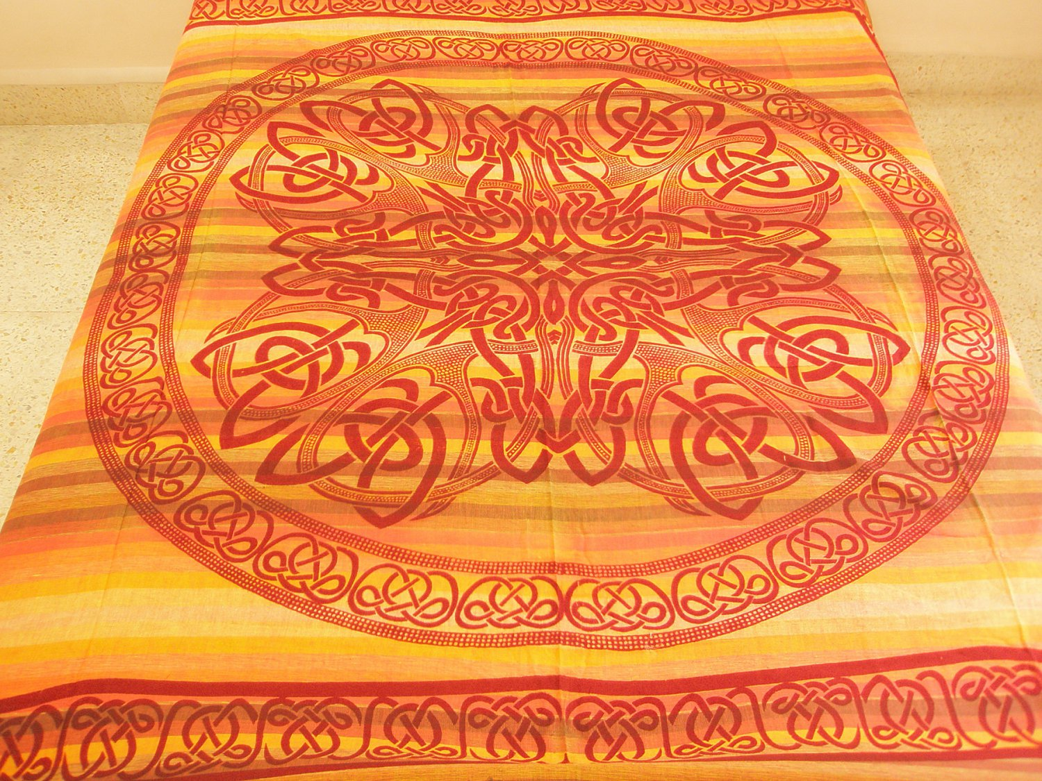 Celtic Cotton Bedspread Queen Coverlet Wall Tapestry Wiccan Pagan Altar Cloth Bohemian Home Decor