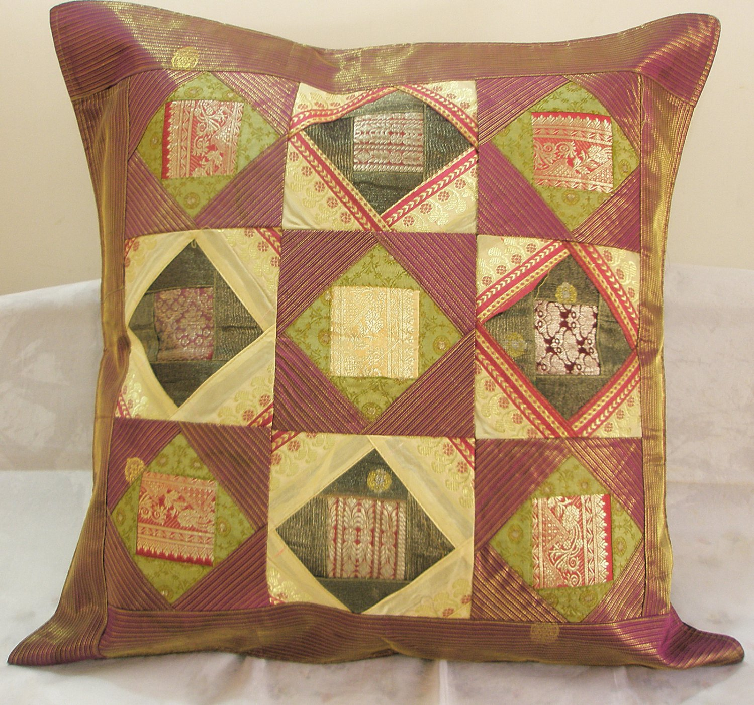 24 Inch Extra Large Ethnic Patchwork Indian Cushion Pillow Covers