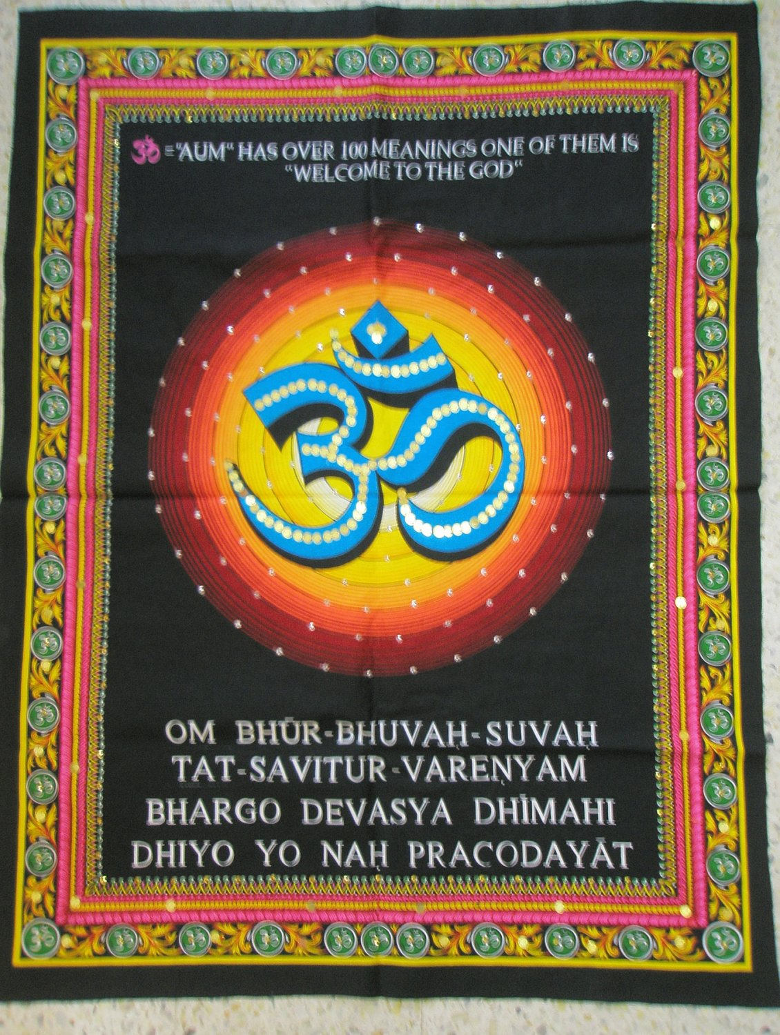 Hindu Symbol OM AUM Ohm Gayatri Mantra Sanskrit Tapestry Sequin Wall Hanging India Vintage Decor