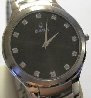 BULOVA Mens SILVER 12 DIAMONDS Ultra THIN Watch $995