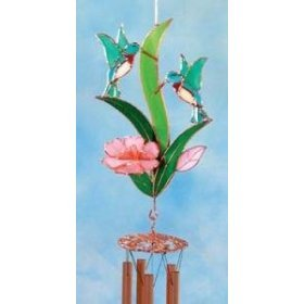 Double Pink Hummingbird Large Wind Chimes