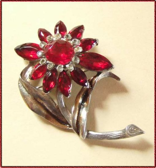 Ruby Red Crystal Pin Old Vintage Pot Metal Flower 9566