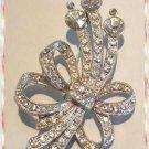 Elegant Rhinestone Ribbon Pin Silver Rhodium Metal 9640