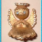 Christmas Pin Vintage Praying Gold Angel Signed Dodds 9317