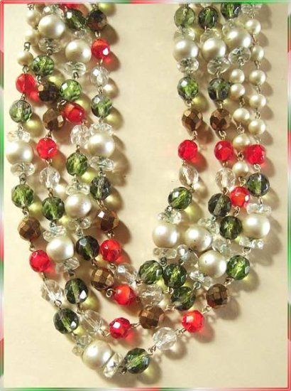 "Crystal Flapper Necklace Red w Green and Pearls 42"" 9621"