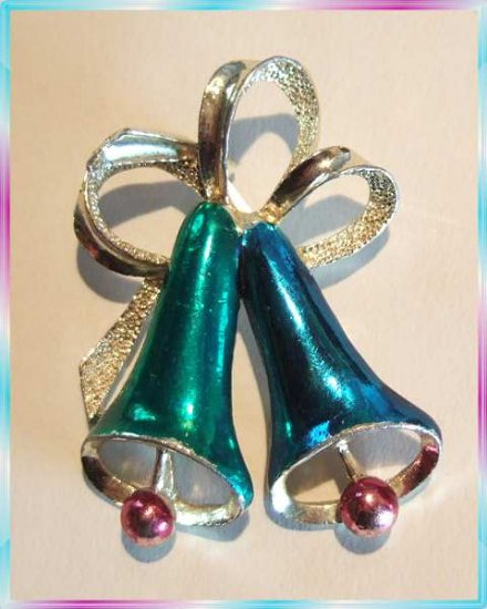Christmas Bell Pin Satin Blue w Teal Vintage Signed Pin 9641