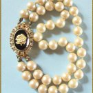 Vintage Pearl Bracelet Signed Celebrity w Jeweled Clasp 9416