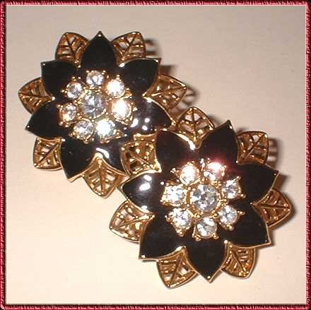 Christmas Earrings Gold Black Poinsettia w Rhinestones 9336