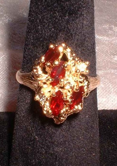 Ruby Costume Ring Marquise Cuts in Gold Nugget 1960s 6963