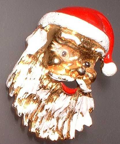 Vintage Christmas Pin Santa w Beard Signed Gerrys