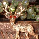 Christmas Pin Unique 40s Antiqued Gold Rhinestone Deer 6453