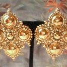 Designer Gold Earrings Signed BARRERA Medallions 7057