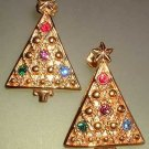 Christmas Tree Earrings Vintage Gold Rhinestone Pierced 7488