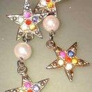Vintage Christmas Star Earrings Rhinestones w Pearls 7521