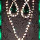 Emerald Rhinestone Necklace w Earrings Vintage 1940s  7695