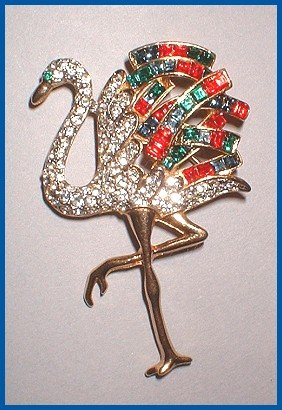 Rare Rhinestone Flamingo Bird Pin 1940s Brooch 7624