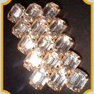 Vintage Crystal Pin Tiered Emerald Cuts 1950s w Gold 7807
