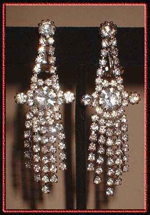 Vintage Grand Chandelier Rhinestone Earrings 1950s 8220