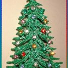 Vintage Christmas Tree Pin 50s Tall Rhinestone Brooch 8099