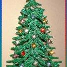 Vintage Christmas Tree Pin 50s Tall Rhinestone Brooch 8099