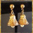 Vintage Christmas Bell Earrings Gold w Pearl Dangles 9680