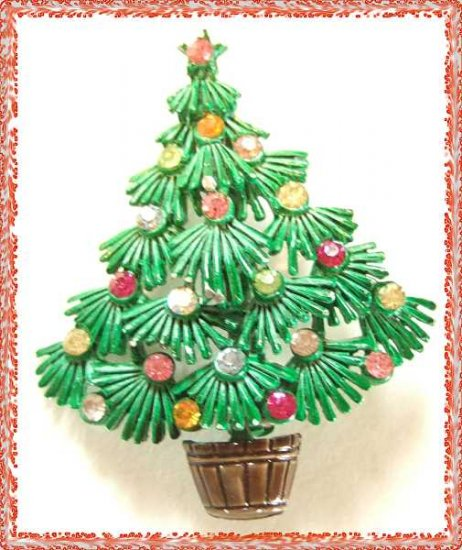 Christmas Tree Pin Vintage Torino Tree w Rhinestones 9580