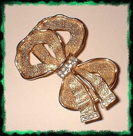 Elegant Ribbon Pin Satin Gold w Rhinestones 9350