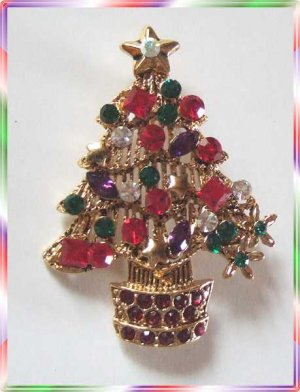 Christmas Tree Pin Superb Red Green Purple Rhinestones 9581