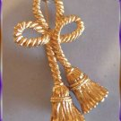Christmas Pin XLG Vintage Gold Tassel Brooch 9418