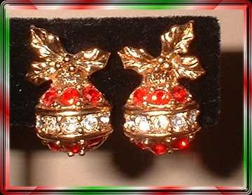 Vintage Christmas Earrings Petite Red Crystal Ornaments 9366