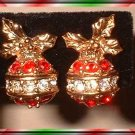 Vintage Christmas Earrings Petite Red Crystal Ornaments 9366