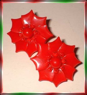 Christmas Earrings Celluloid Poinsettias 40s W Germany 9367