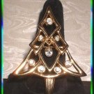 Vintage Christmas Tree Pin Polished Gold w Crystals 9362