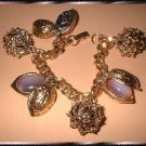 Vintage Charm Bracelet Antique Gold Berries Glass Nuts 9384