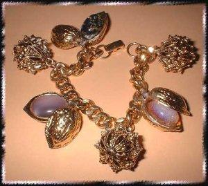 Vintage Charm Bracelet Antique Gold Berries Glass Nuts 9384