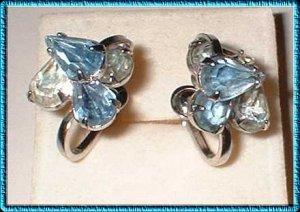 Designer Crystal Earrings Sgnd Duane Aquamarine Pears 9392