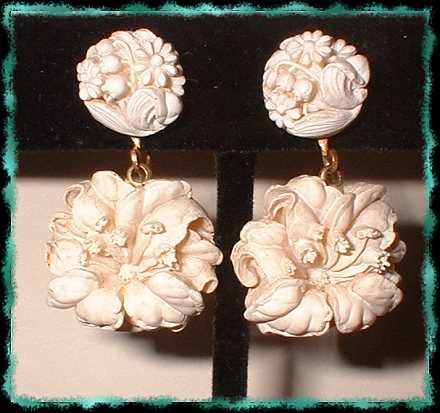 Antique Ivory Carved Celluloid Earrings Lovely Day Lily