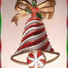 Christmas Bell Pin Rare Vintage MYLU Candy Cane 9417
