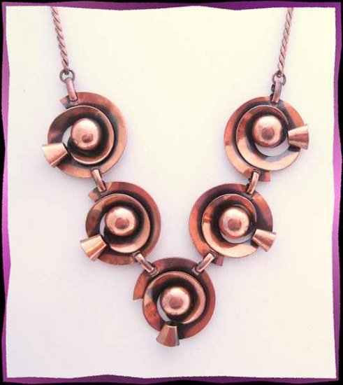 Vintage Copper Necklace Retro Modern Space Age Design  9673