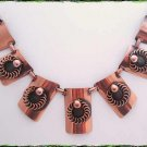 Vintage Copper Necklace Rectangles w Spirals 9670
