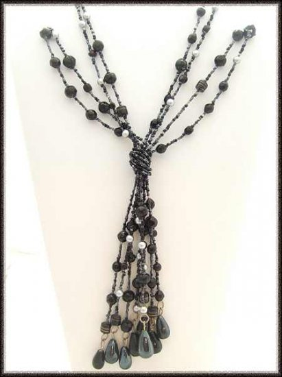 Murano Black Glass Long Tassel Necklace Vintage 1950s 9527