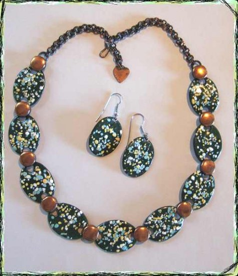 Vintage Copper Enamel Necklace w Earrings Splattered 9651