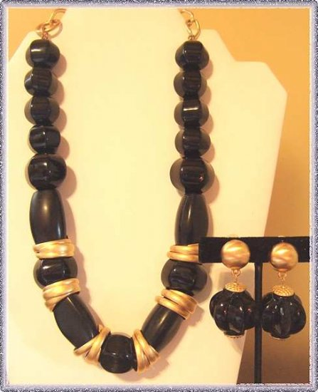 Anne Klein Necklace w Earrings Chunky Black Satin Gold 9528