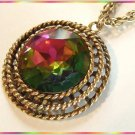 Vintage Crystal Necklace Big Watermelon Rivoli Pendant 9518