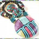Retro Modern Big Silk Necklace w Earrings Super Colors 9529